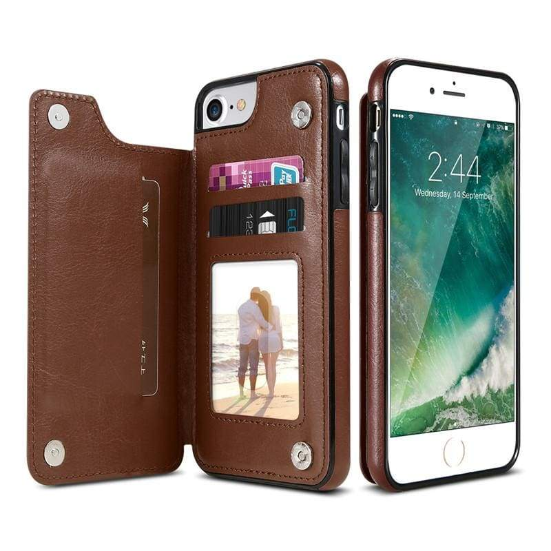 3 in 1 iphone cases Multifunctional wallet - Brown / For iPhone 7 8 - Fitted Cases
