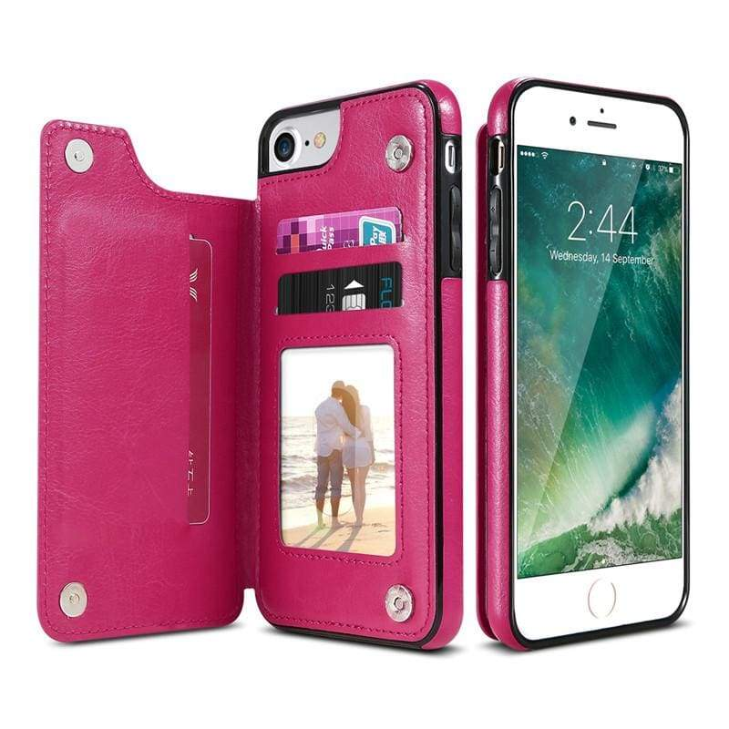 3 in 1 iphone cases Multifunctional wallet - Hot Pink / For iPhone 7 8 - Fitted Cases