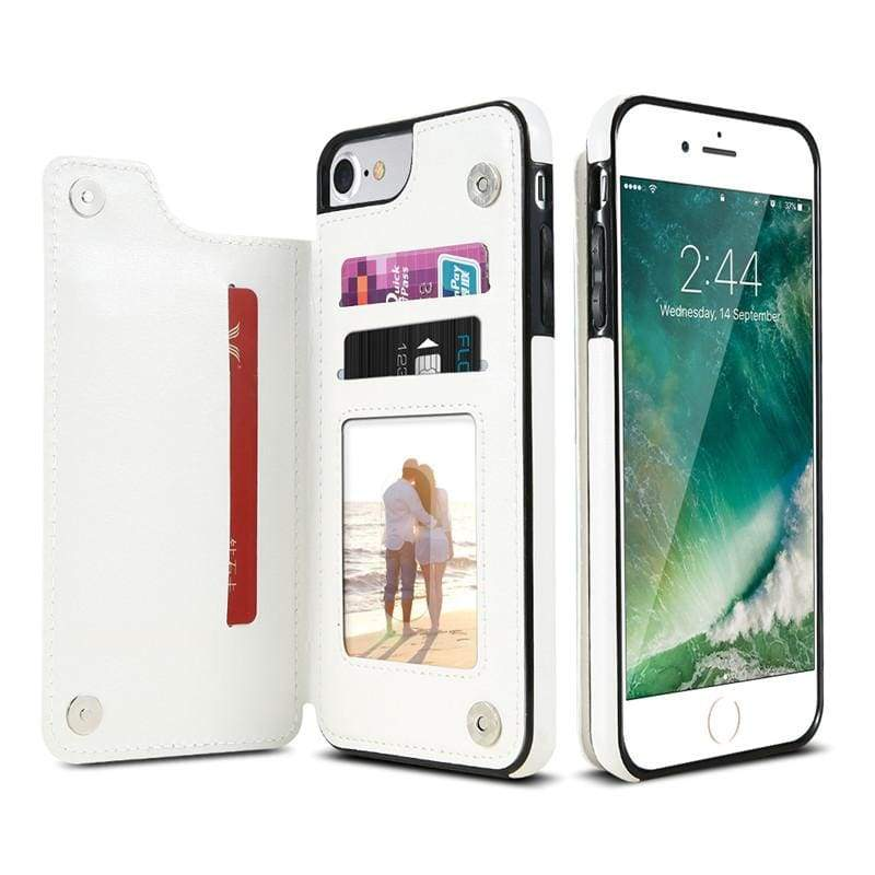 3 in 1 iphone cases Multifunctional wallet - White / For iPhone 7 8 - Fitted Cases