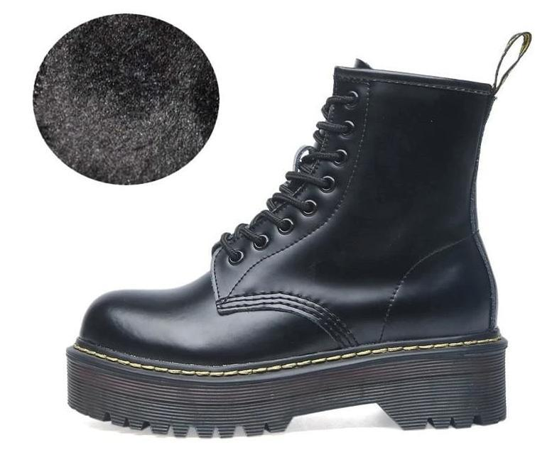 Lace-up Leather Boots For Women - Fur Bright black / 35 - shoes