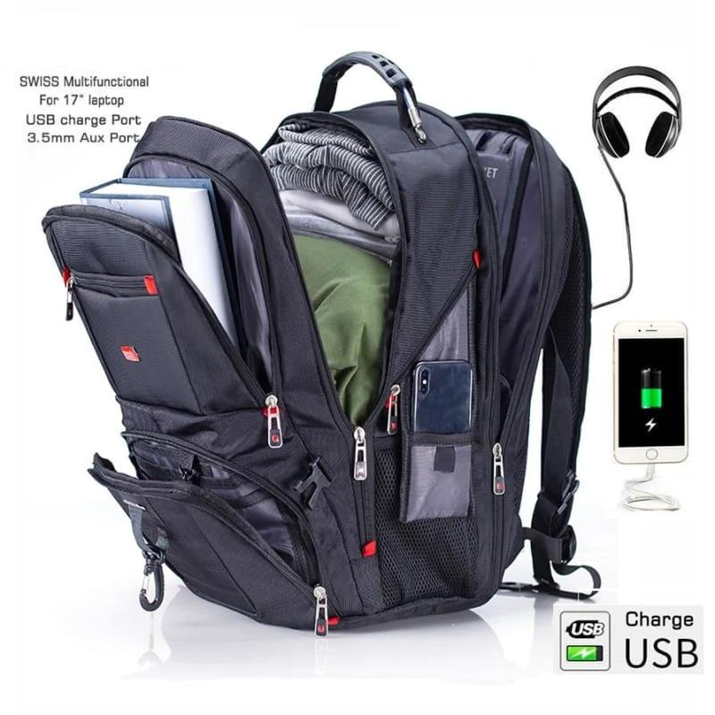 Laptop backpack Waterproof USB Charge Just For You - 17in cover and lock - Backpacks1