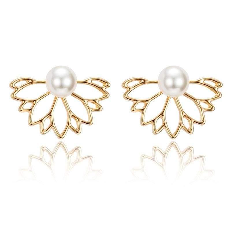 Lotus Crystal Flower Stud Earrings - Gold 3 - Stud Earrings