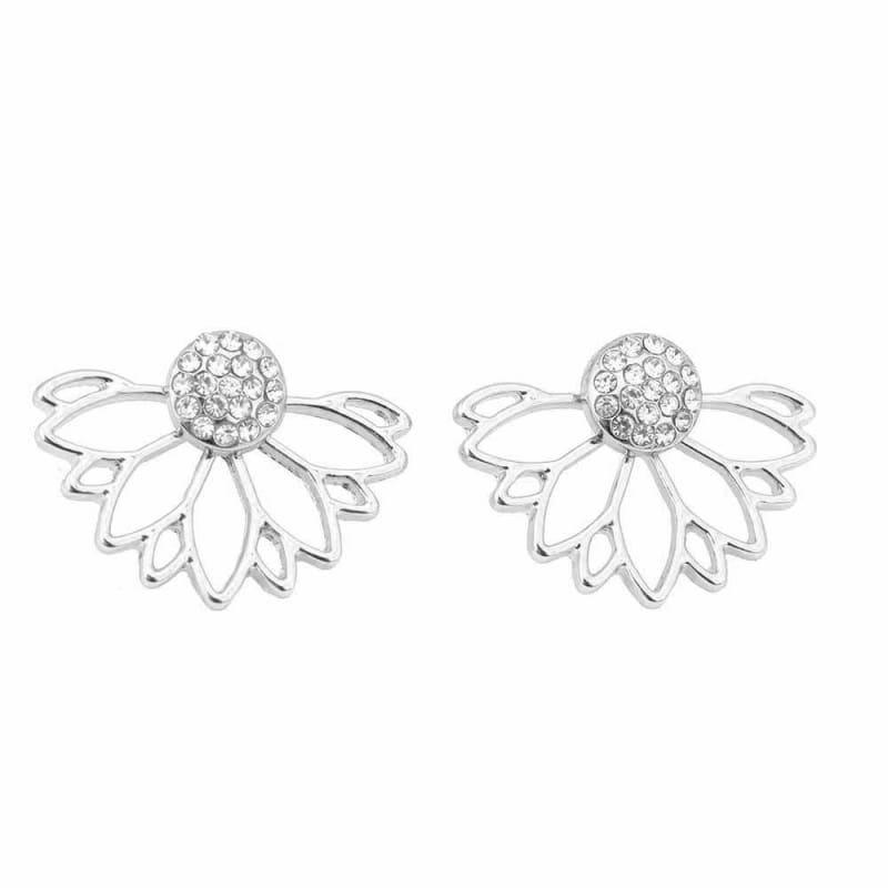 Lotus Crystal Flower Stud Earrings - Silver 2 - Stud Earrings