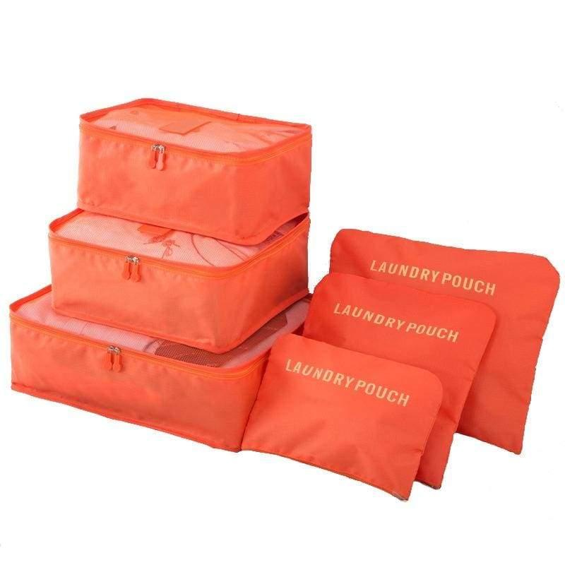 Luggage Packing Organizer Set - Orange - Storage Bags