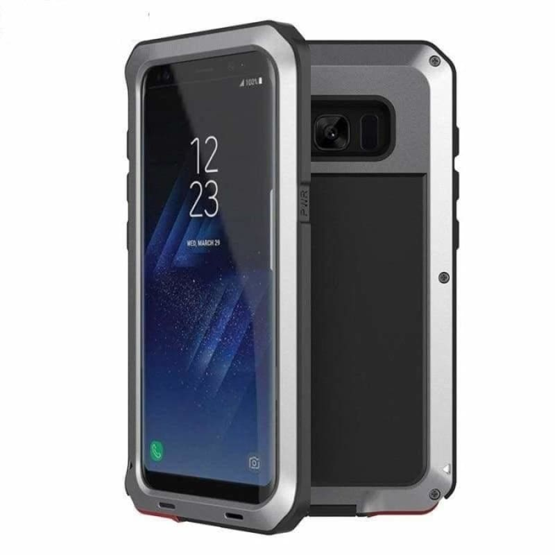 Luxury Doom Armor Metal Heavy Duty Samsung Phone Case Protection - Silver / For Galaxy Note 9 - Fitted Cases