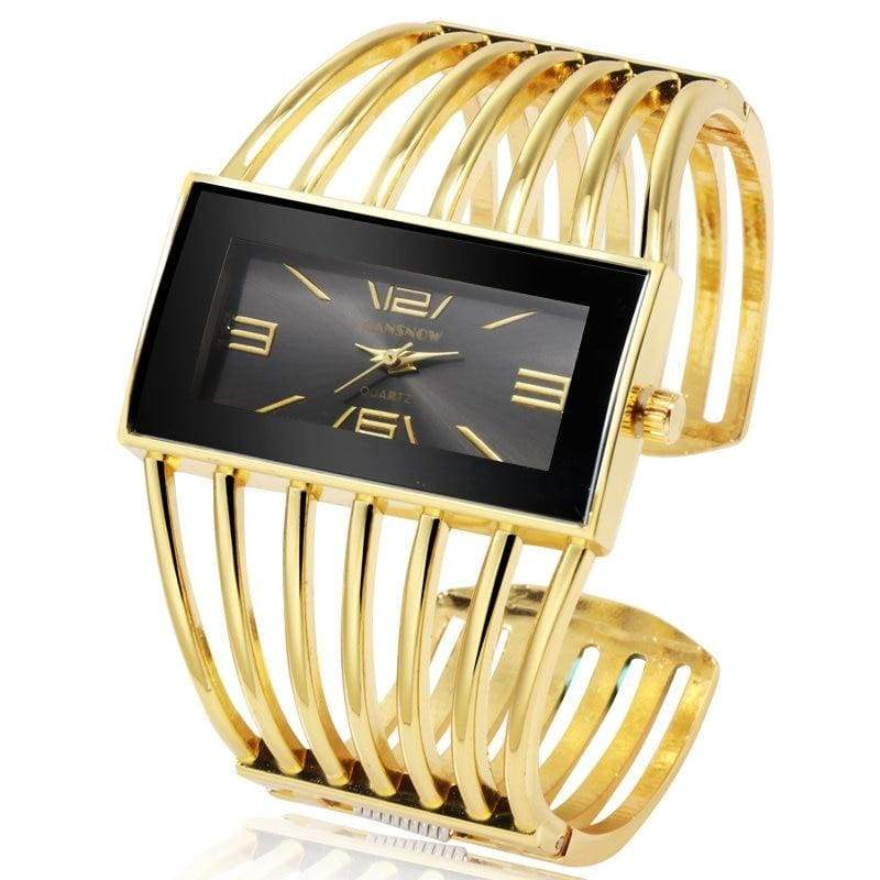 Luxury Fashion Watch Rose Gold Bangle Bracelet - gold black - Womens Watches