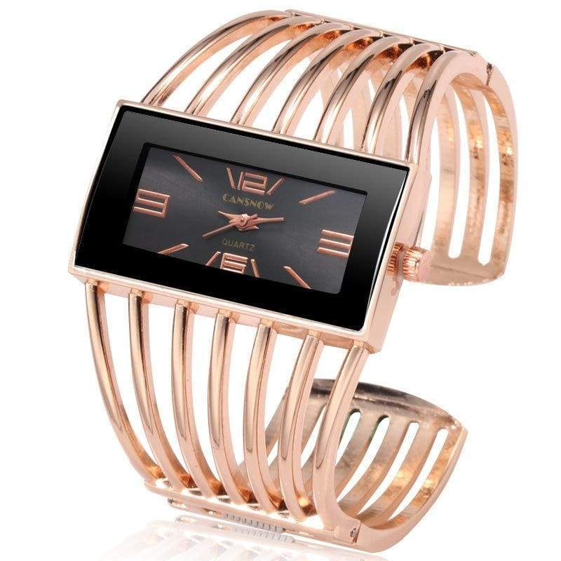 Luxury Fashion Watch Rose Gold Bangle Bracelet - rose gold black - Womens Watches