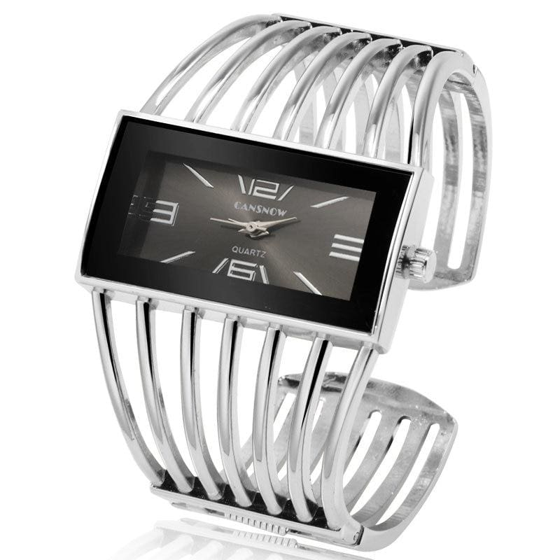 Luxury Fashion Watch Rose Gold Bangle Bracelet - silver black - Womens Watches