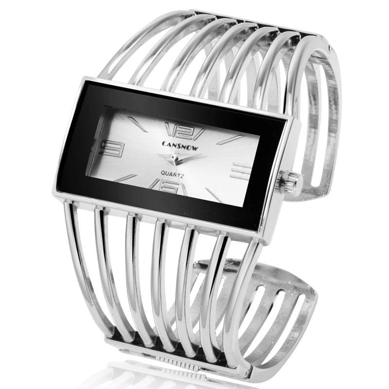 Luxury Fashion Watch Rose Gold Bangle Bracelet - silver white - Womens Watches