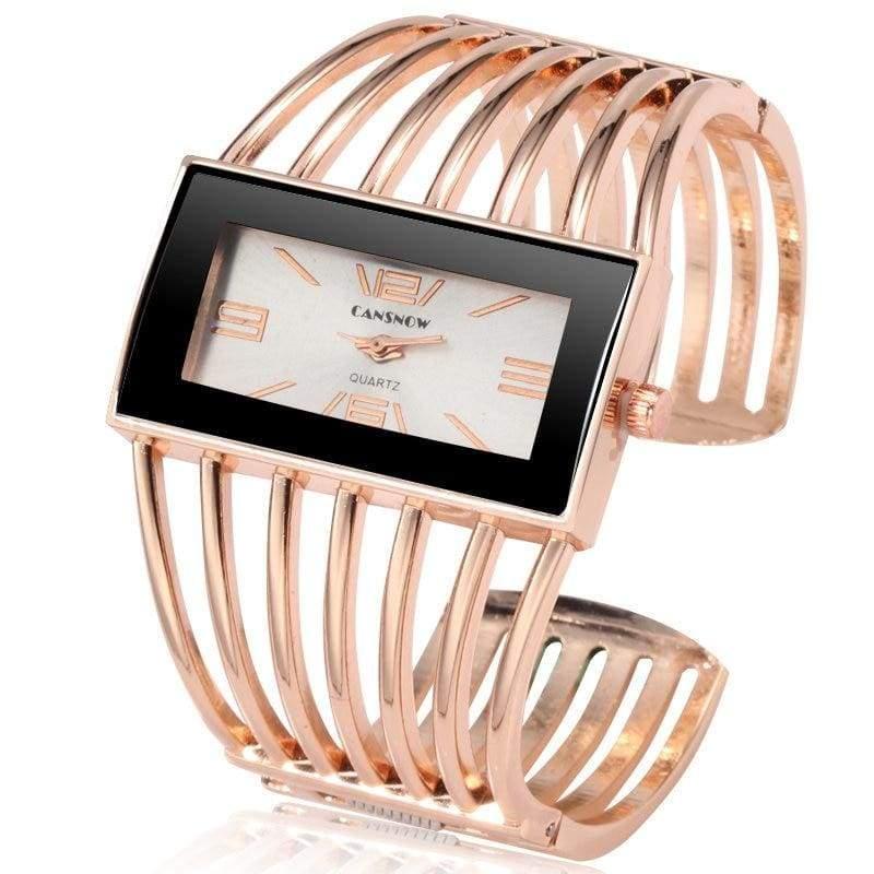 Luxury Fashion Watch Rose Gold Bangle Bracelet - rose gold white - Womens Watches