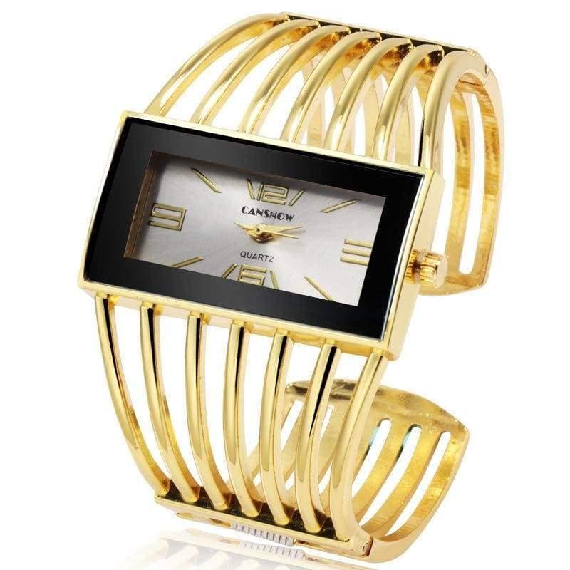 Luxury Fashion Watch Rose Gold Bangle Bracelet - gold white - Womens Watches