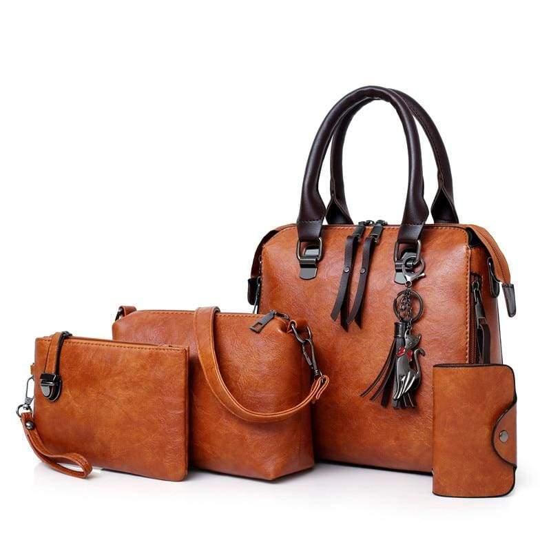 Luxury Leather Bag Set - Brown / L25cmH23cmW12cm - Top-Handle Bags