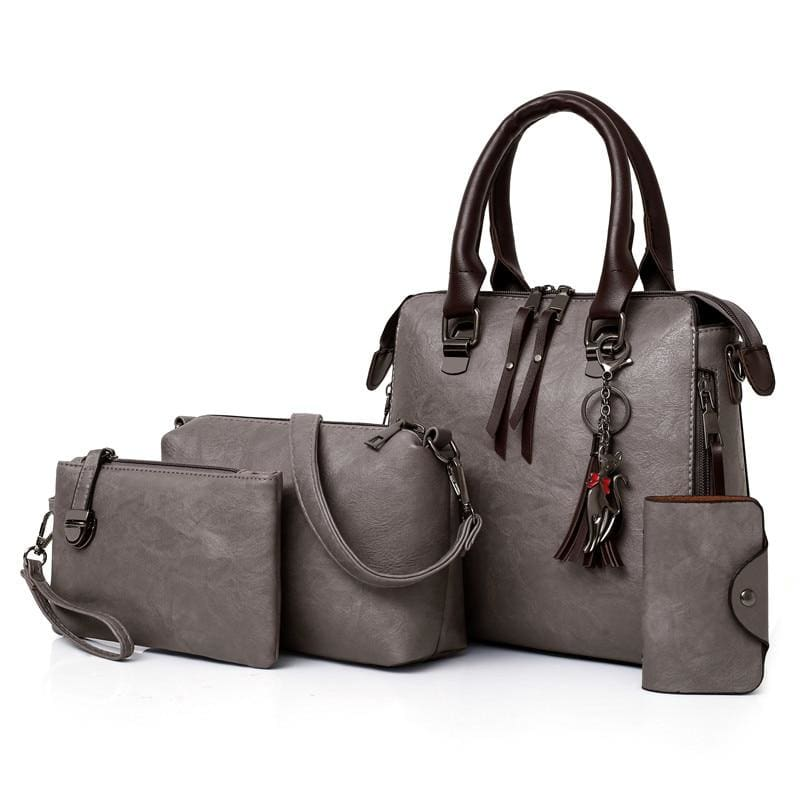 Luxury Leather Bag Set - Gray / L25cmH23cmW12cm - Top-Handle Bags