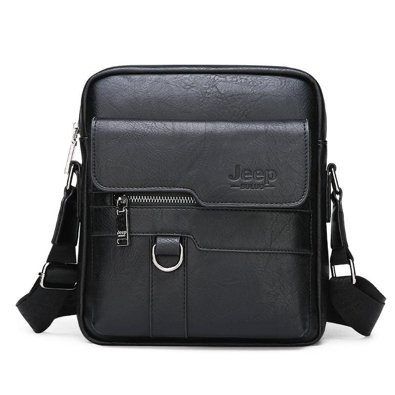 Luxury Leather Men Handbag - Black - Crossbody Bags