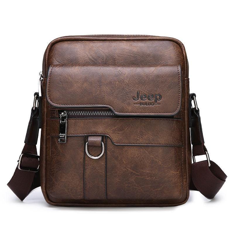 Luxury Leather Men Handbag - Brown - Crossbody Bags