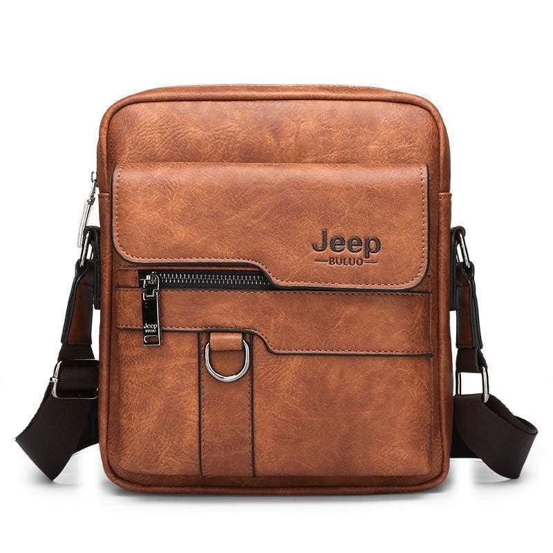 Luxury Leather Men Handbag - Orange - Crossbody Bags