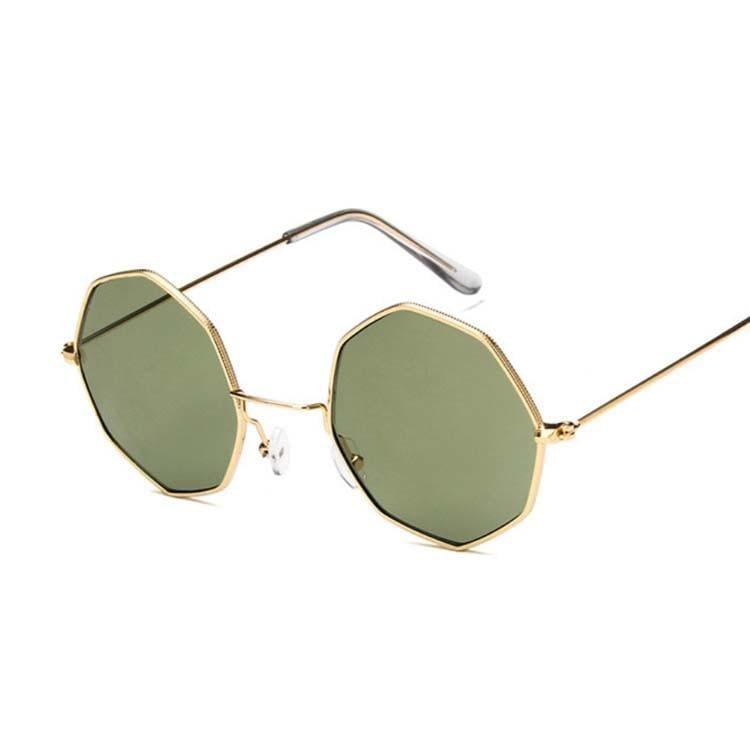 Luxury Octagon Sunglasses - Gold Darkgreen - Sunglasses