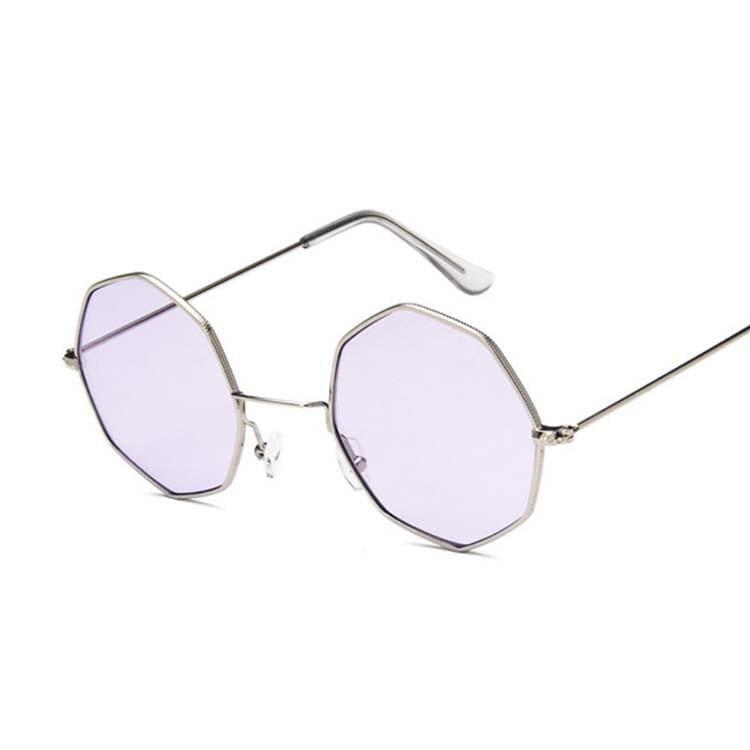 Luxury Octagon Sunglasses - Silver Purple - Sunglasses