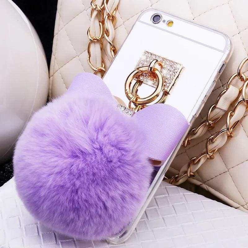Luxury Rhinestone Case Cover For iPhone - Blowball-lavender / For iPhone XR - Rhinestone Cases