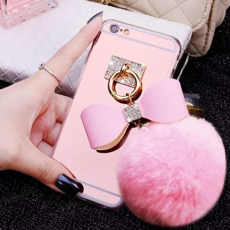 Luxury Rhinestone Case Cover For iPhone - Blowball-Pink / For iPhone XR - Rhinestone Cases