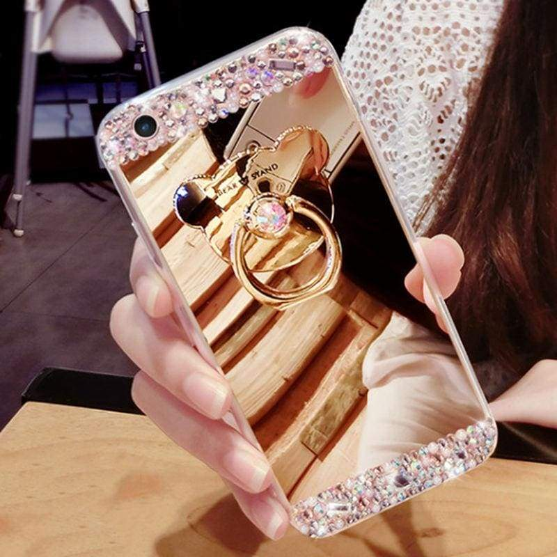 Luxury Rhinestone Case Cover For iPhone - Gold-Bear Ring / For iPhone XR - Rhinestone Cases