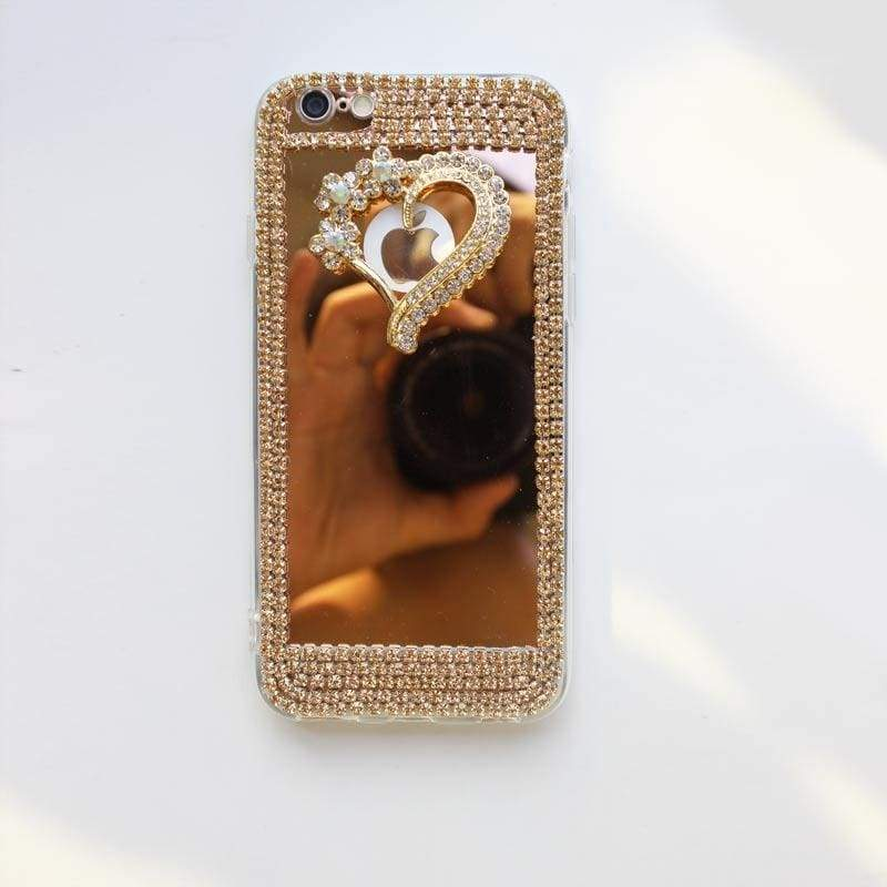 Luxury Rhinestone Case Cover For iPhone - Gold-Love / For iPhone XR - Rhinestone Cases