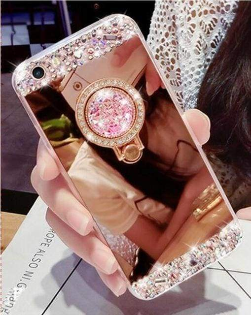 Luxury Rhinestone Case Cover For iPhone - Pink-Ring / For iPhone XR - Rhinestone Cases