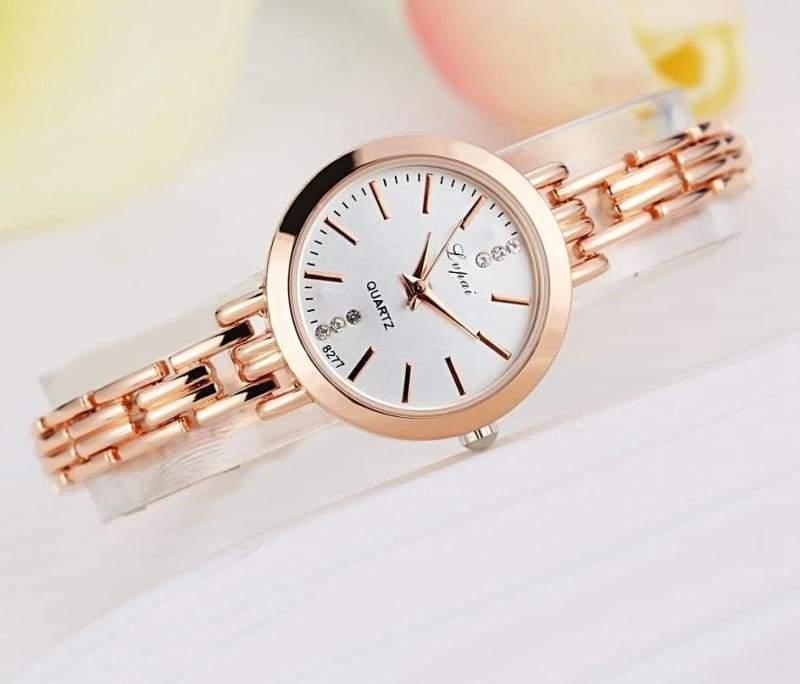 Luxury Women Bracelet Watches - Rose Gold White - Womens Watches