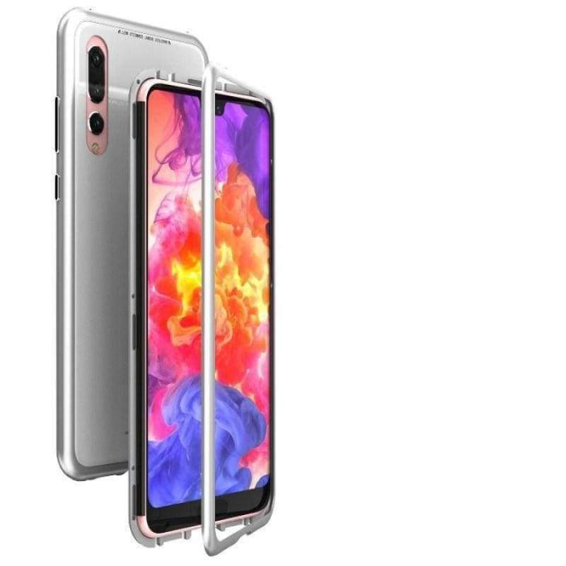 Magnetic Adsorption Case for Huawei - Silver-White Back / For Huawei P20 / with Retail pack - Fitted Cases