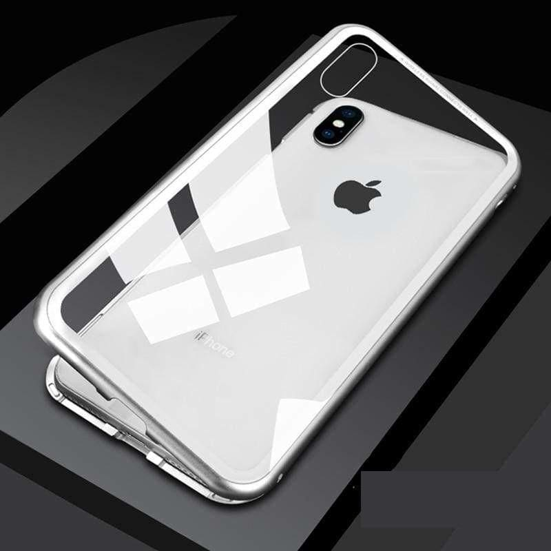 Metal Magnetic Case for iPhone & Samsung - Clear Silver / For Samsung Note 8 / With Front Glass - Fitted Cases