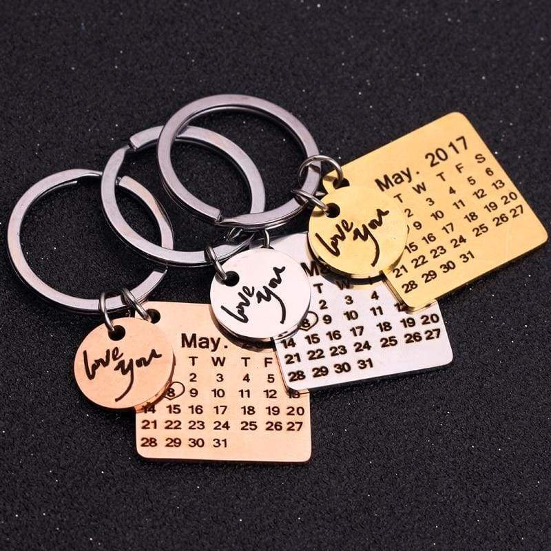 Moment in time keychain - customize calendar G - Key Chains