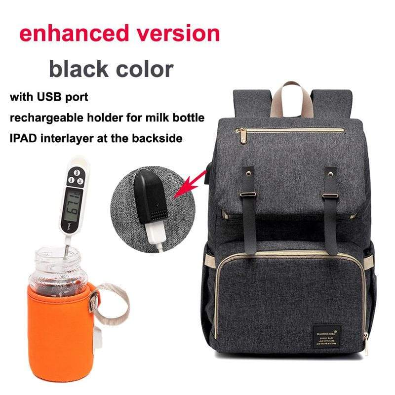Multi-Function Diaper Bag - black enhanced versi - Diaper Bags