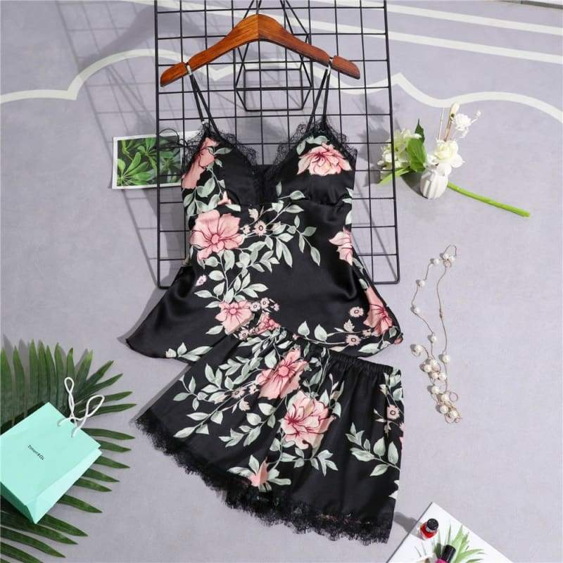 Nightie Sleepwear Lace Pajama Just For You - black 2pcs / M - Women Clothing