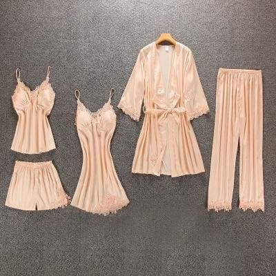 Nightie Sleepwear Lace Pajama Just For You - champagne 5pcs / M - Women Clothing