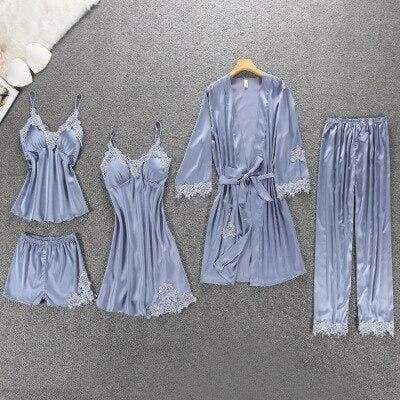 Nightie Sleepwear Lace Pajama Just For You - gray floral 5pcs / M - Women Clothing