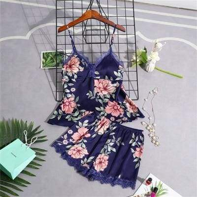 Nightie Sleepwear Lace Pajama Just For You - navy blue 2pcs / M - Women Clothing