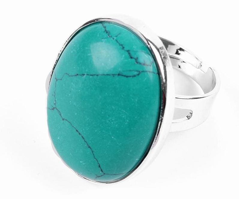 Amazing Oval gemstone ring - Deep Green Turquoise - Rings