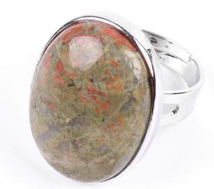 Amazing Oval gemstone ring - Unakite - Rings