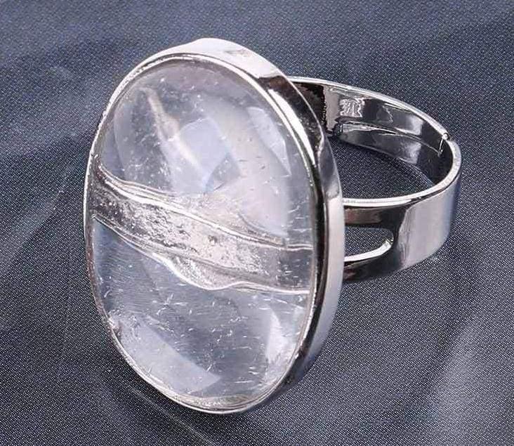 Amazing Oval gemstone ring - White Crystal - Rings