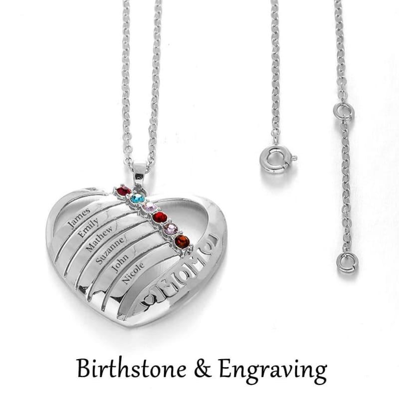 Personalized Birthstone Engrave Heart Pendants Necklaces - Pendants