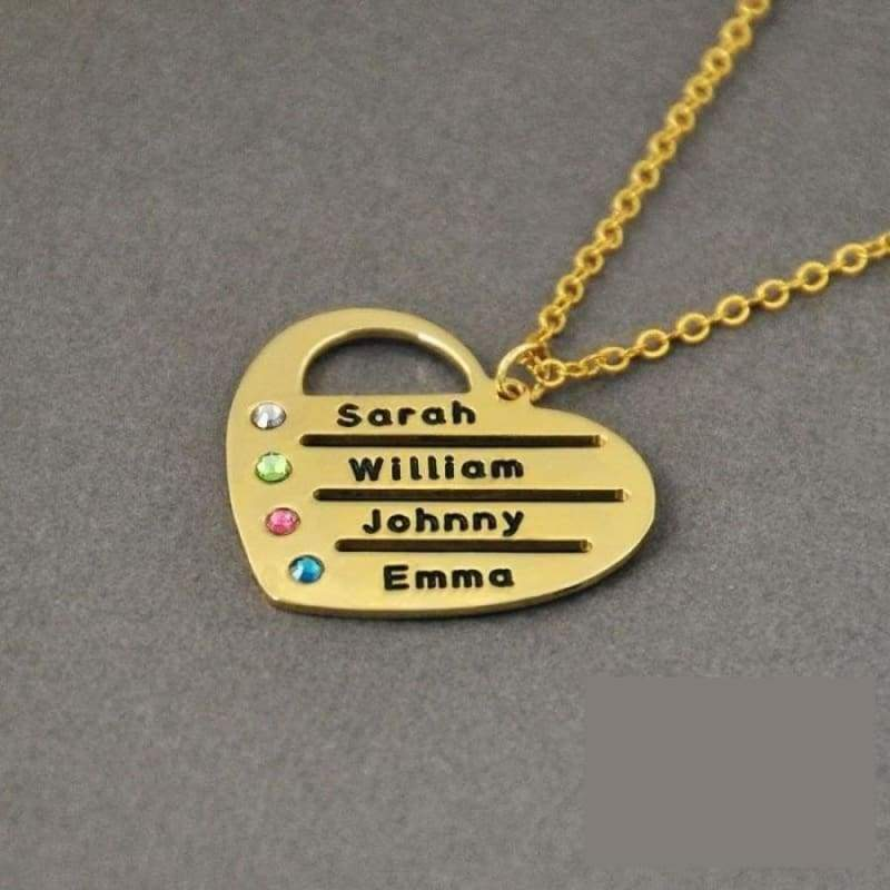 Personalized Birthstones Necklace Heart Name Pendant. - Gold Color / 18 inches - Pendant Necklaces