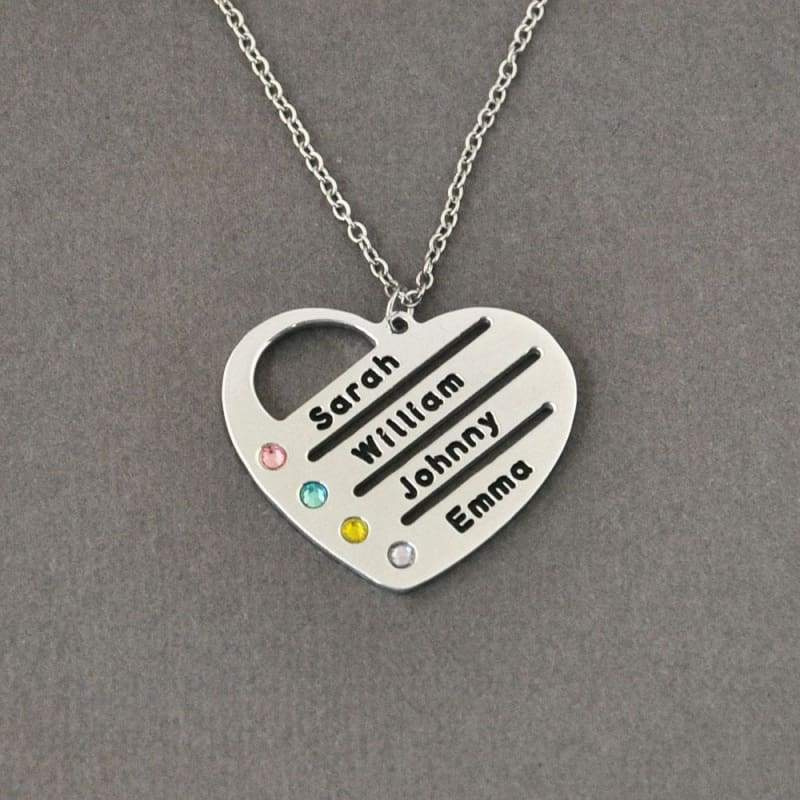 Personalized Birthstones Necklace Heart Name Pendant. - Silver Color / 18 inches - Pendant Necklaces