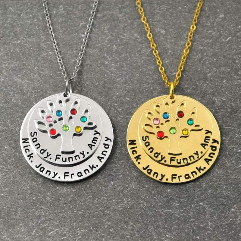 Personalized Family Tree Pendant Necklace with Birthstones. - Gold color - Pendants