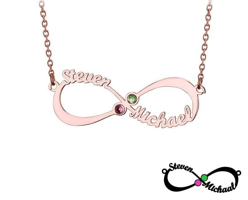 Personalized Infinity Necklace with double Names and Birthstones - Pendant Necklaces
