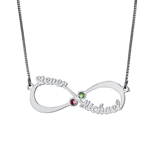 Personalized Infinity Necklace with double Names and Birthstones - white gold plated / 45cm - Pendant Necklaces