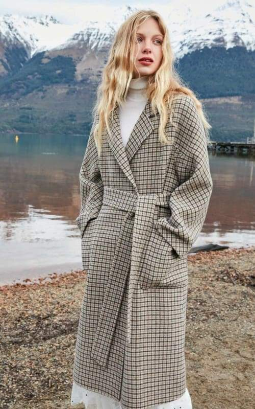 Plaid Wool Overcoat Just For You - Apricot illusion / XS - Women Coat