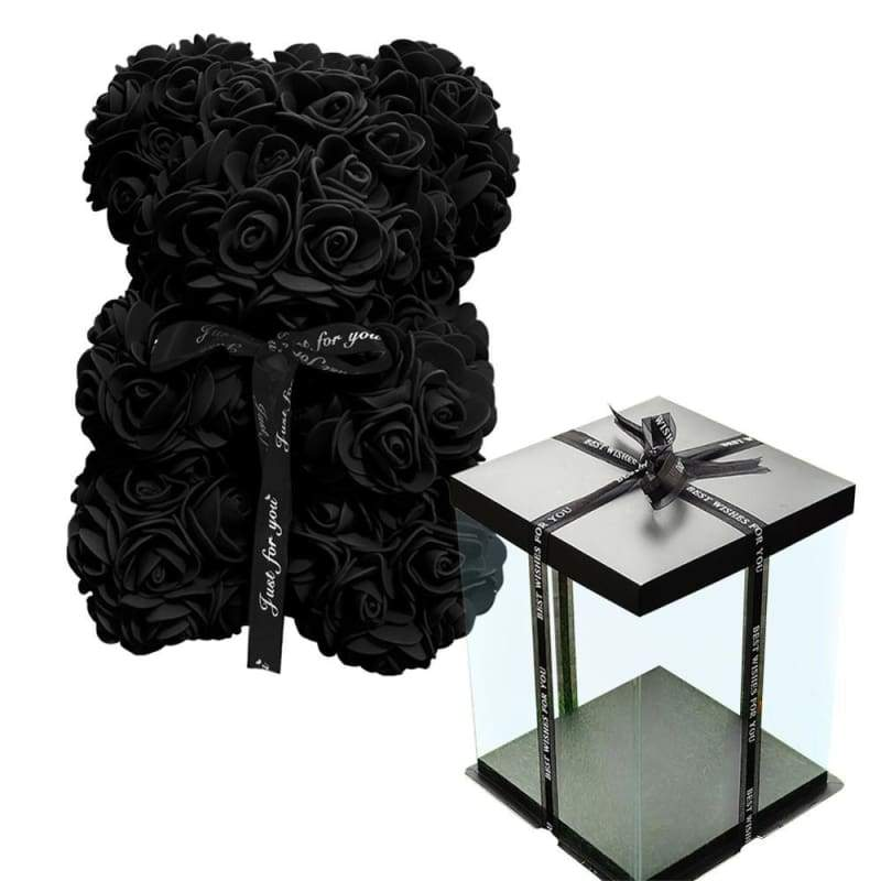 Rose Teddy Bear Valentines Gift Just For You - Black with Box - Teddy Bear1
