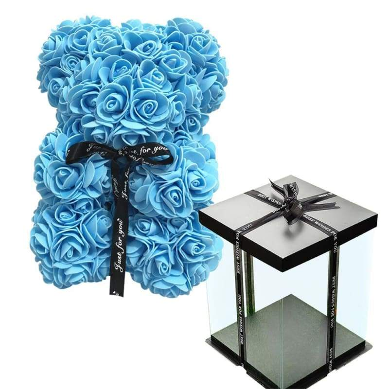 Rose Teddy Bear Valentines Gift Just For You - Blue with Box - Teddy Bear1