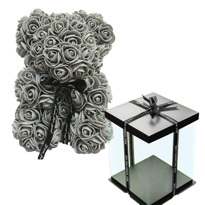 Rose Teddy Bear Valentines Gift Just For You - Grey with Box - Teddy Bear1