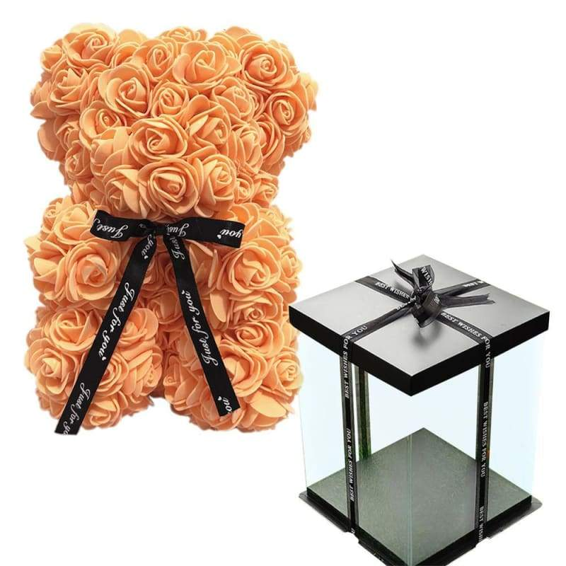 Rose Teddy Bear Valentines Gift Just For You - Orange with Box - Teddy Bear1